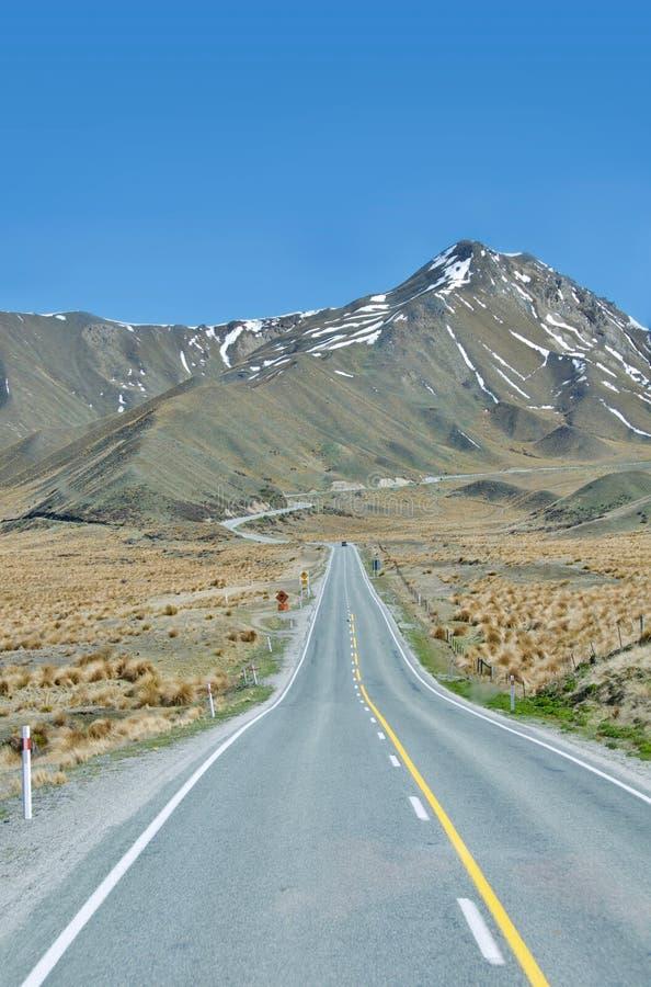 Väg till berget, södra ö, Nya Zeeland arkivfoton