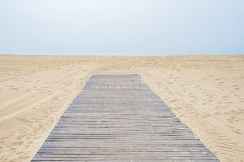 Väg till den sandiga stranden ingenstansför träväg royaltyfri bild
