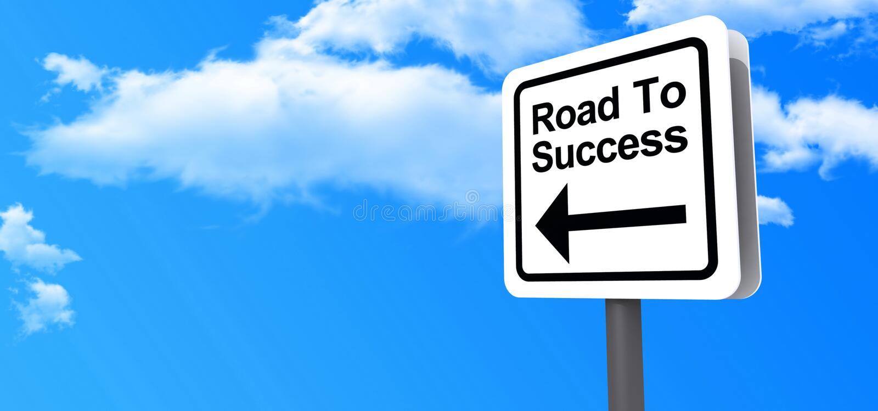 Väg till framgångshuvudvägtecknet arkivbilder