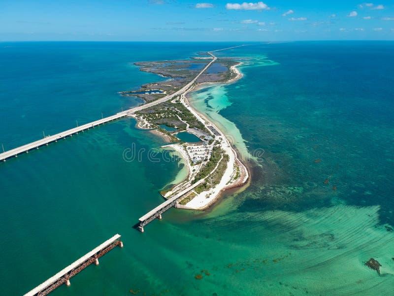 Väg 1 till Key West i Florida tangenter, USA arkivbild