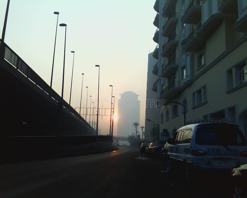 Väg till Nilen tidigt på morgonen arkivbilder