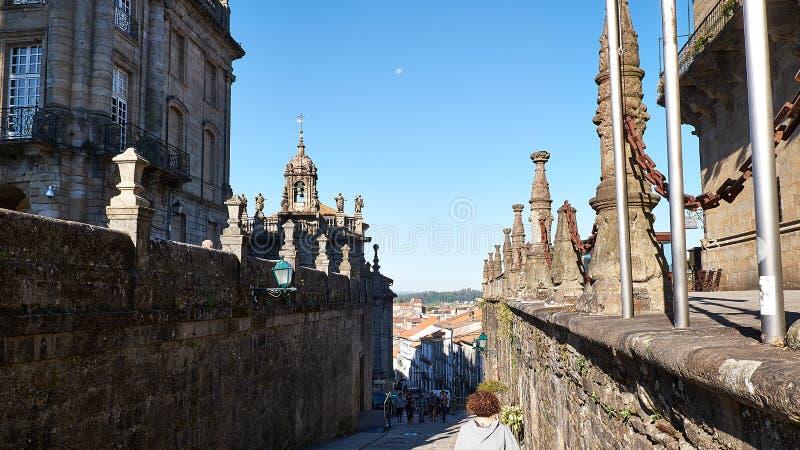 Väg till Santiago epilogen mellan Santiago och Finisterre La Coruna, Spanien royaltyfri fotografi