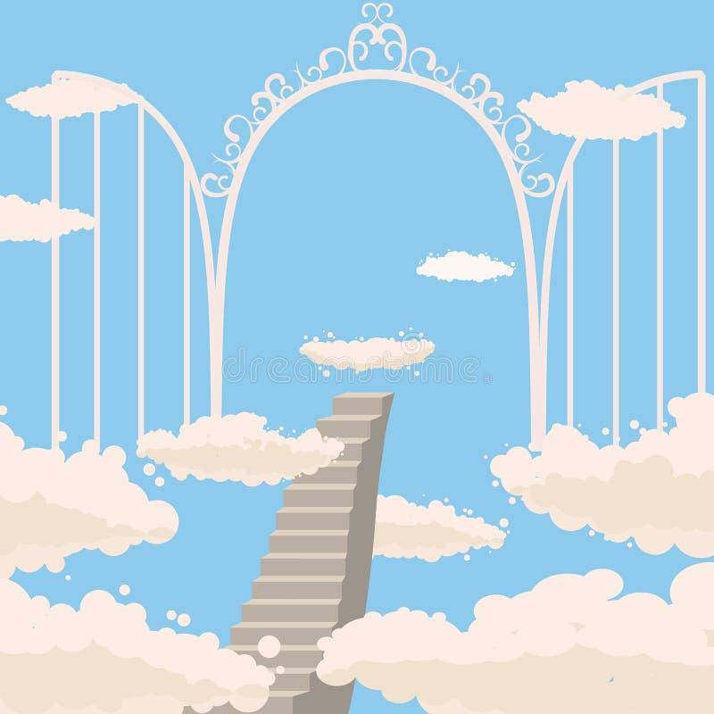 Väg trappa till himmel, öppna portar av himmel, himmel, moln, kristendomen, vektor som isoleras, tecknad filmstil vektor illustrationer
