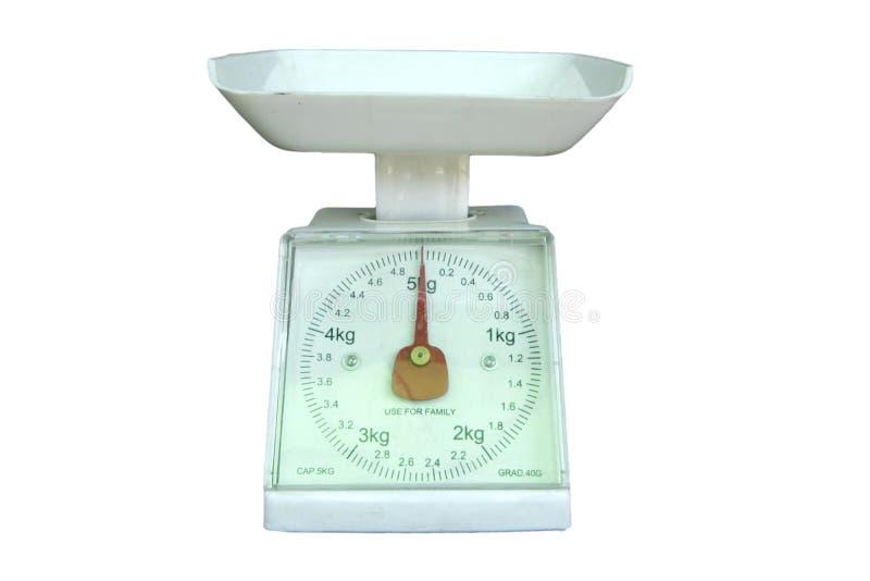 Väga mätningen balanserar isolerad vitbakgrund arkivbild