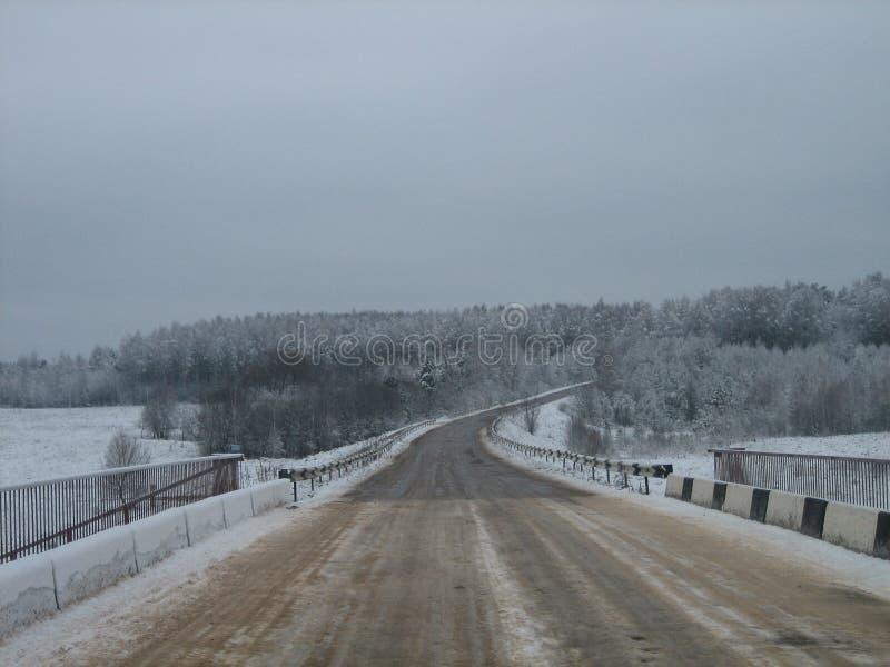 Vägbro över floden i skogkanten i vinter på en grå molnig dag arkivbilder