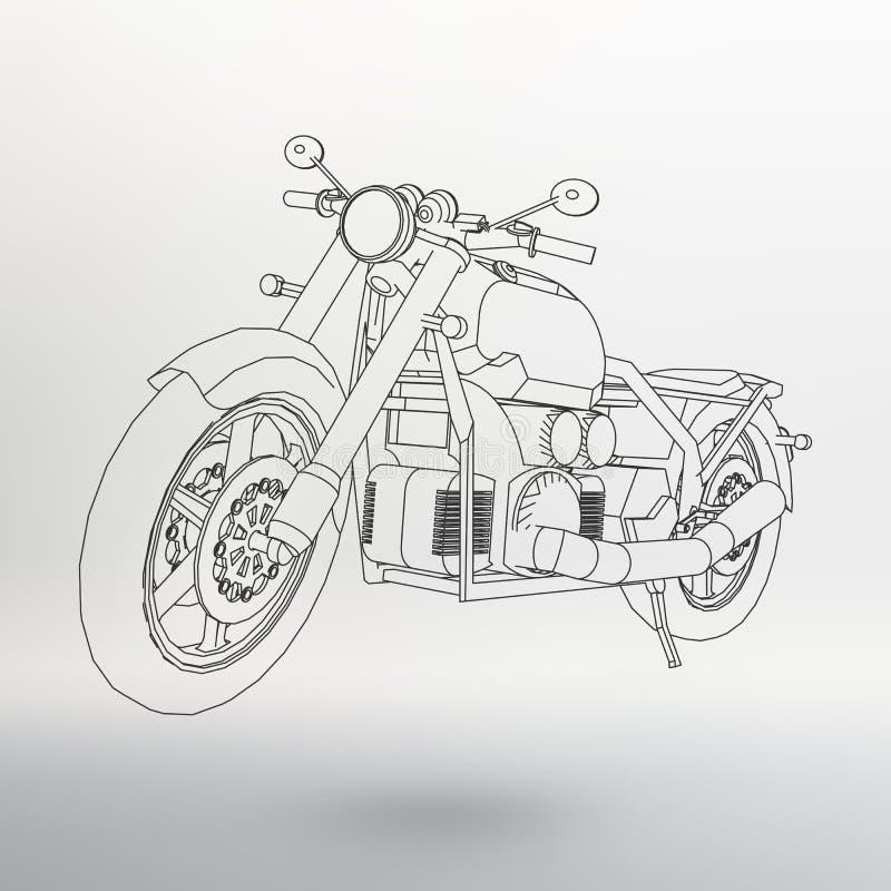 Vägcykel Motorcykel i konturlinjerna Kontur av en motorcykel Konturerna av motorcykeln royaltyfri illustrationer