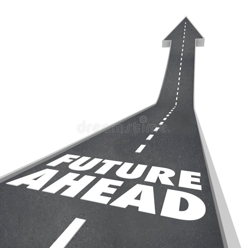 Vägen för framtid framåt uttrycker pilen upp till i morgon stock illustrationer