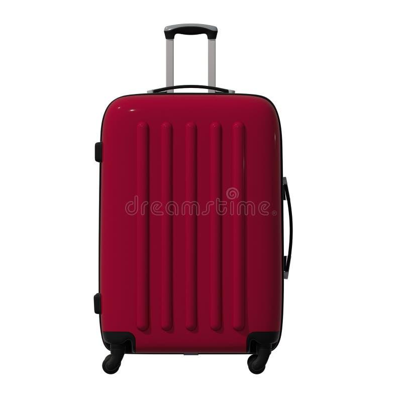 vägen för illustrationen 3d korrugerade den plast- resväskan av burgundy färg facade isolerat royaltyfri illustrationer