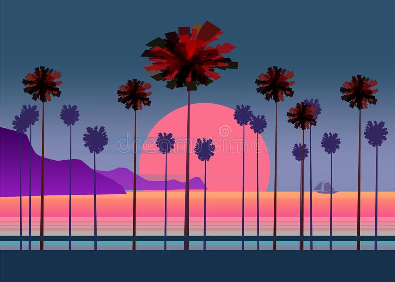 Vägen för sommarsemestern, den tropiska strandsolnedgången, havet, havet, med palmträd, vektorillustrationen, affischen, baner, i stock illustrationer