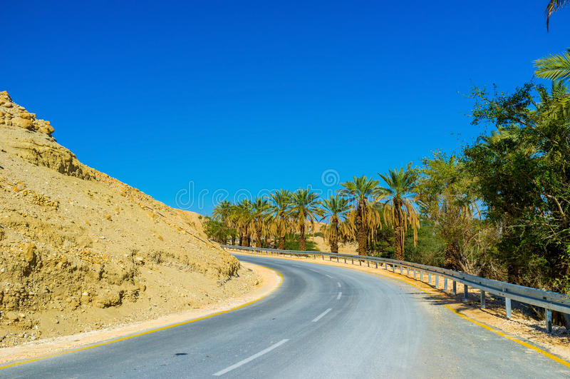 Vägen i öken fotografering för bildbyråer