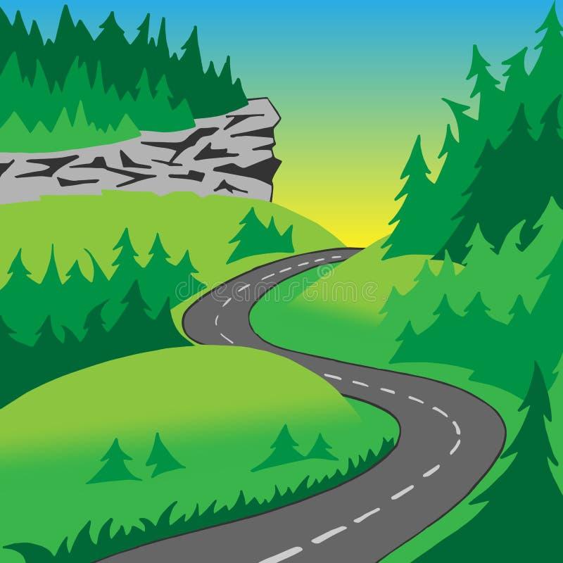 Vägen i kullarna royaltyfri illustrationer