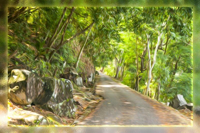 Vägen i skogen gjorde olja för ‹för †att borsta royaltyfri foto