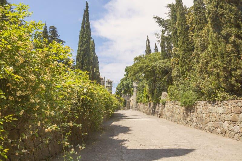 Vägen som leder till den gamla Vorontsov slotten som omges av ettgammalt, parkerar royaltyfri bild