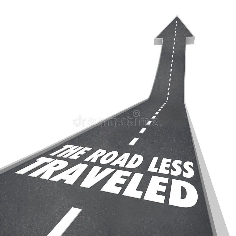 Vägen som resas mindre, går din egen väg stock illustrationer