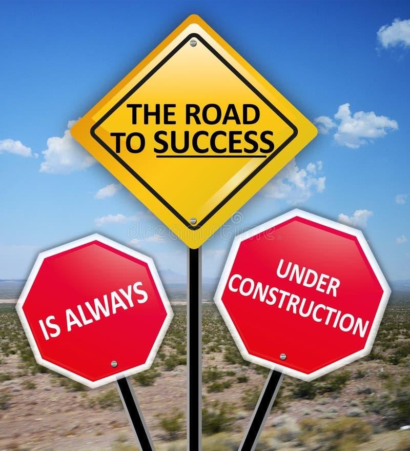 Vägen till framgång är alltid under konstruktionsbegrepp på vägmärken royaltyfria bilder