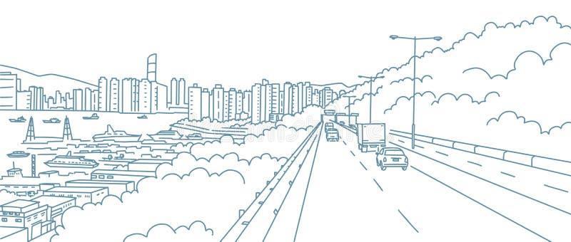 Vägen till staden Väglandskap Längs flodens kust Höga höjder vid horisonten Handritad skiss stock illustrationer