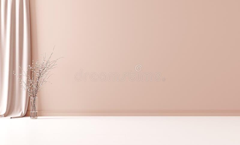 Väggåtlöje upp i tom inre bakgrund, rum med den pastellfärgade persikafärgväggen arkivbild