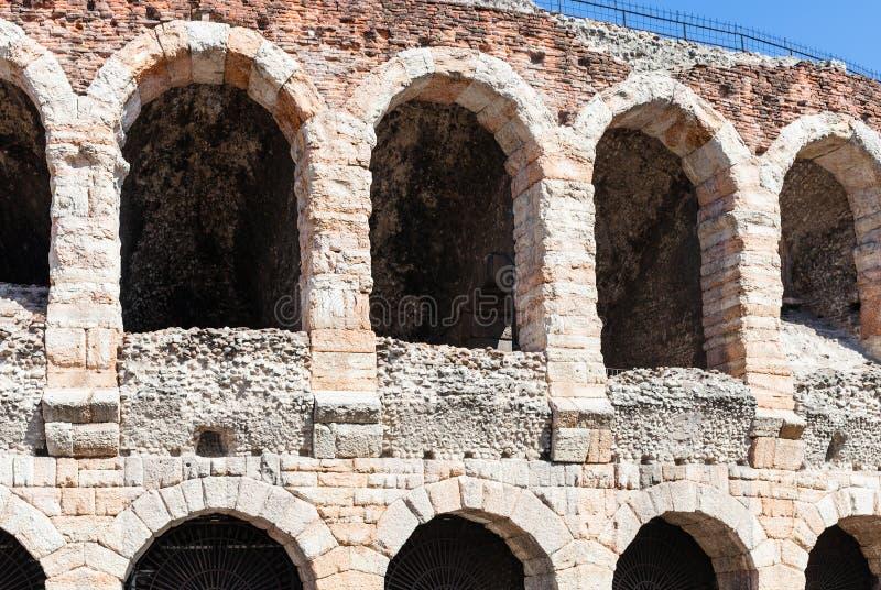 Vägg av arenadi Verona forntida Roman Amphitheatre royaltyfri foto