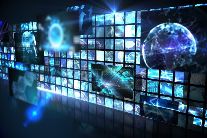 Vägg av digitala skärmar i blått stock illustrationer