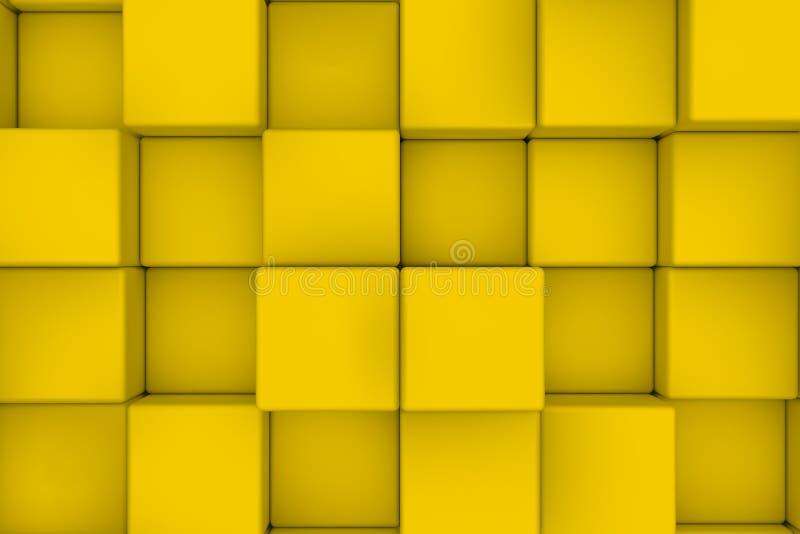 Vägg av gula kuber royaltyfri illustrationer