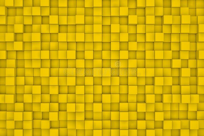 Vägg av gula kuber abstrakt bakgrund royaltyfri illustrationer