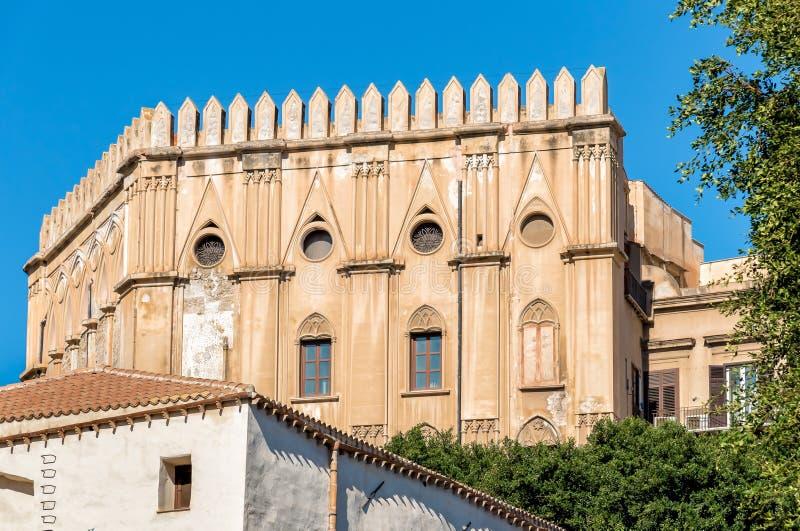 Vägg av Norman Royal Palace i Palermo, Sicilien arkivbild