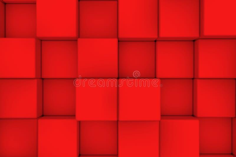 Vägg av röda kuber abstrakt bakgrund stock illustrationer