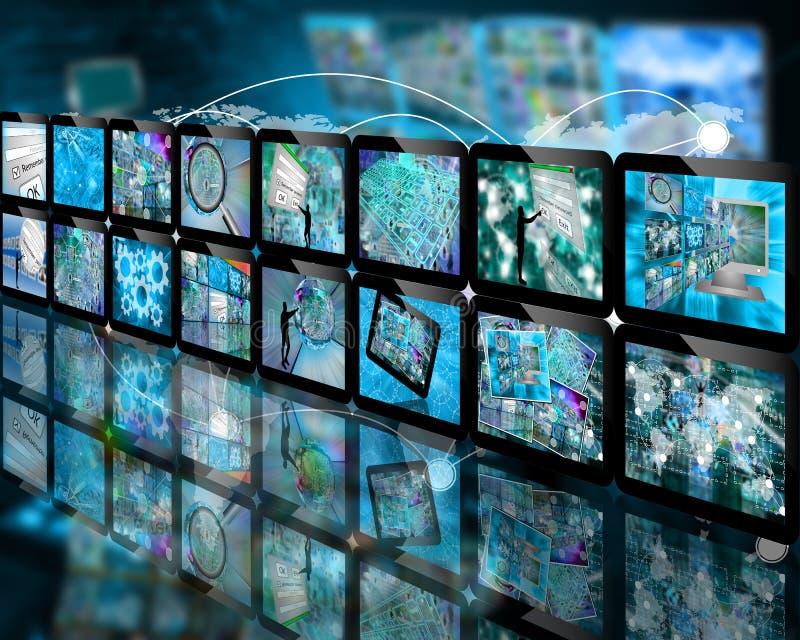 Vägg av skärmen stock illustrationer