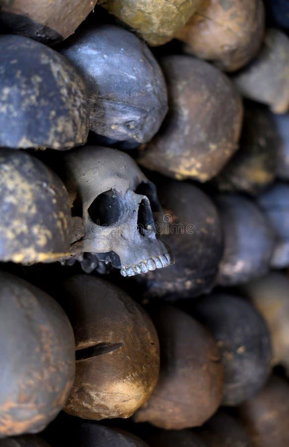 Vägg av skallar arkivfoton