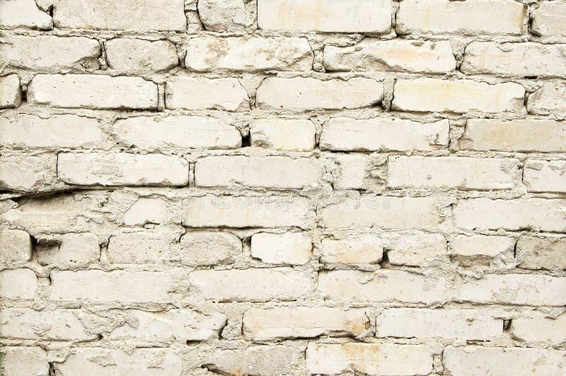 Vägg av vit tegelsten Textur bakgrund, gammal tegelsten arkivbilder