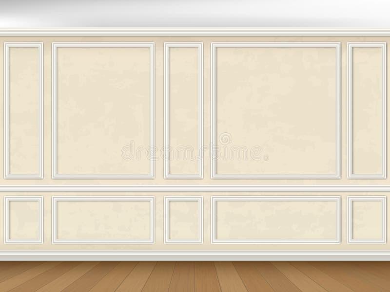 Vägg dekorerade panelstöpningar i klassisk stil royaltyfri illustrationer