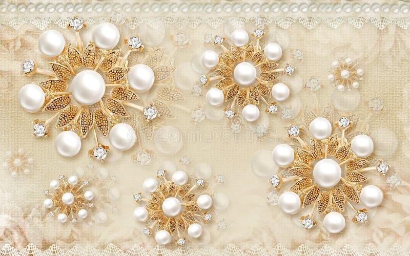 vägg- design för tapet 3D med den guld- bollen för blom- och geometriska objekt och pärlor, purpurfärgade blommor för guld- smyck vektor illustrationer