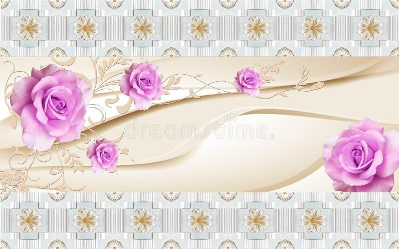 vägg- design för tapet 3D med den guld- bollen för blom- och geometriska objekt och pärlor, rosa blomma för guld- smyckentapetblo vektor illustrationer