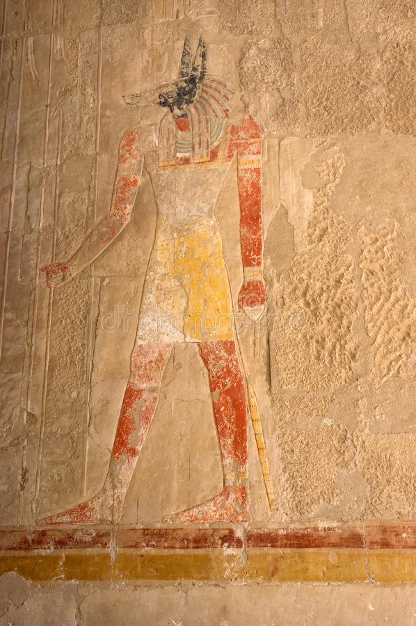 vägg för ancinetegypt hieroglyphic målning arkivbilder