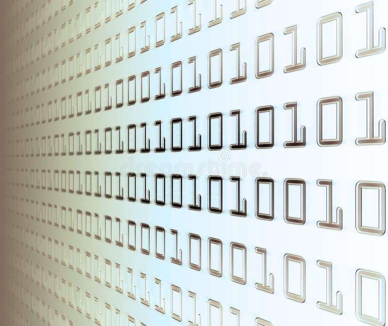 vägg för binär kod stock illustrationer