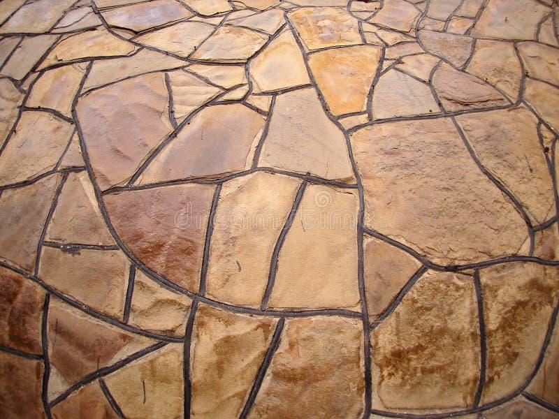 Vägg för dekorativ sten med bred vinkelfisheyesikt arkivfoton