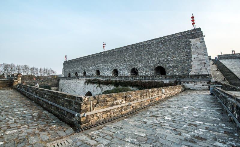 Vägg för forntida stad, Nanjing, Kina royaltyfria bilder