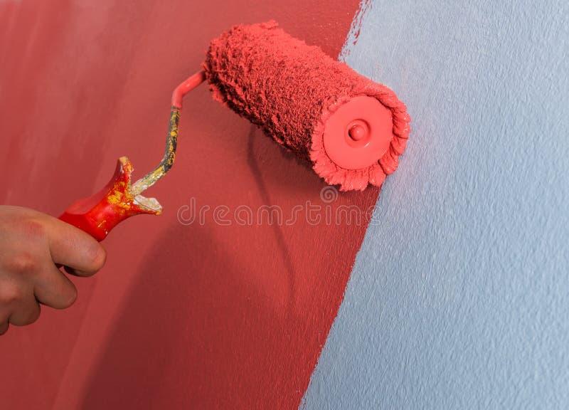 vägg för målarfärgrulle royaltyfria foton
