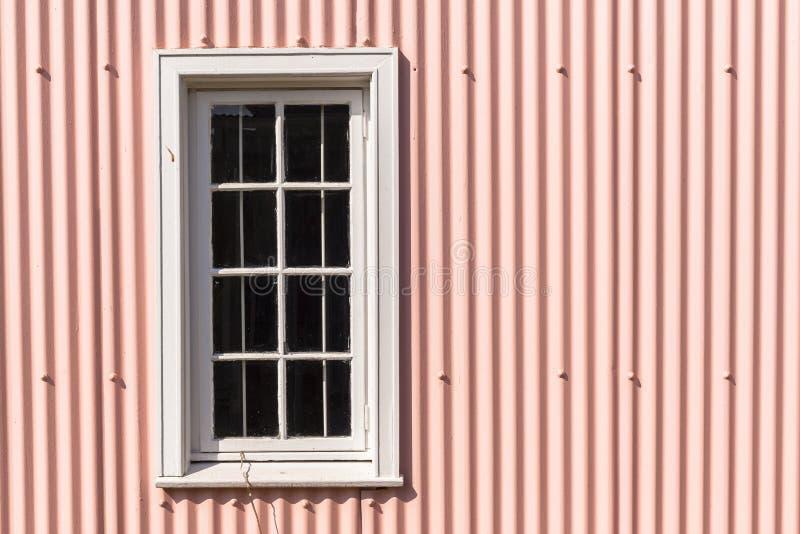 Vägg för metall för rosa färger för fönsterram royaltyfria foton