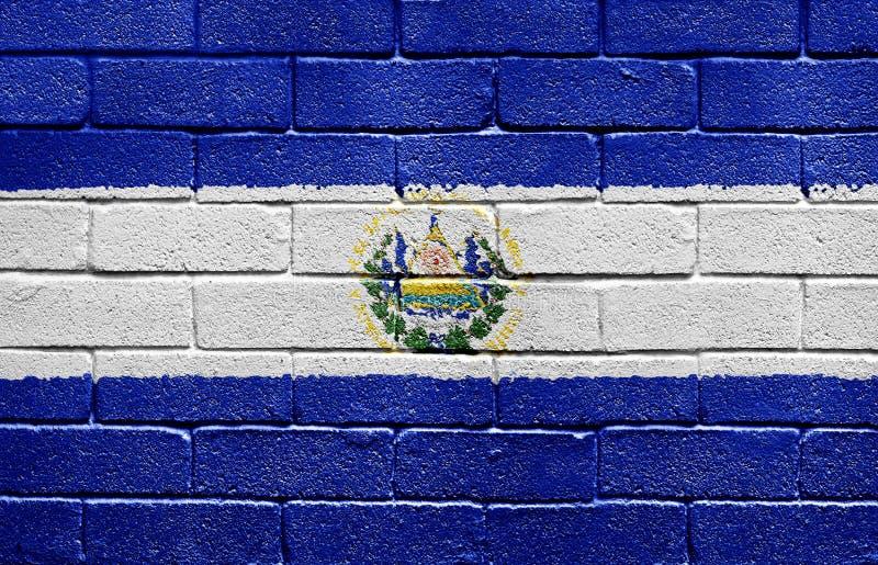 vägg för Salvador för tegelstenel-flagga royaltyfri foto