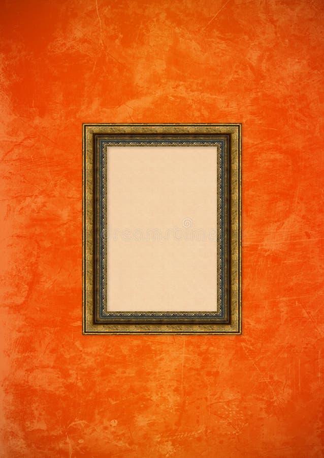vägg för stuckatur för bild för tom ramgrunge orange stock illustrationer