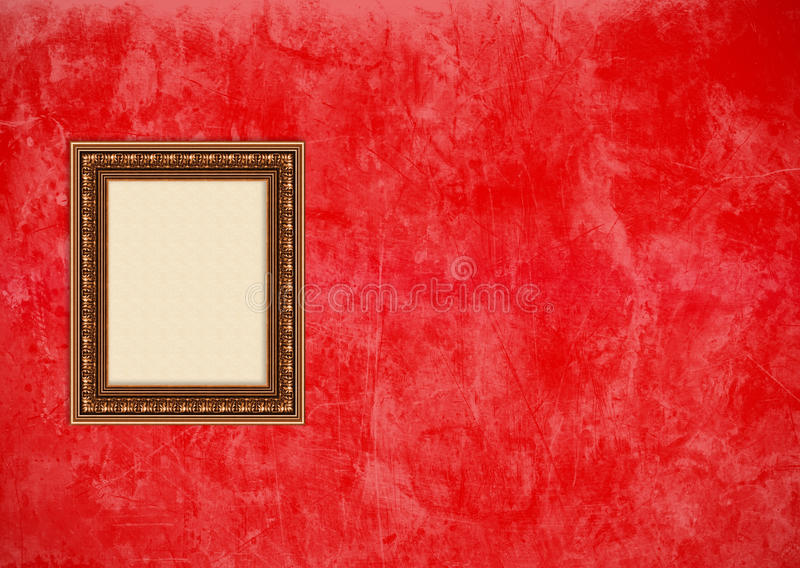 vägg för stuckatur för tom ramgrungebild röd arkivfoto
