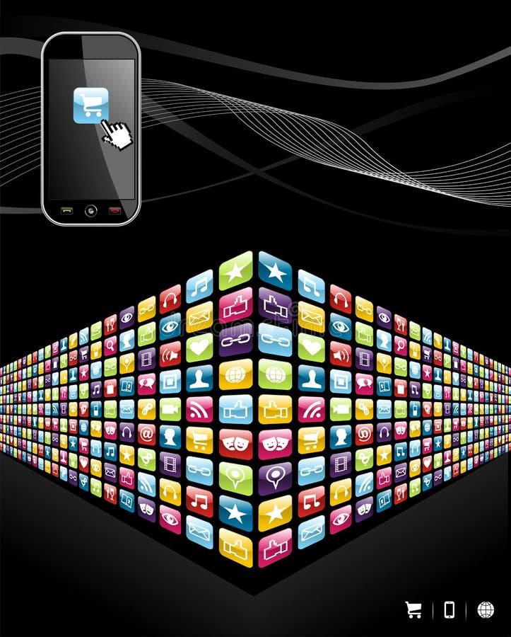 vägg för telefon för globala symboler för apps mobil stock illustrationer
