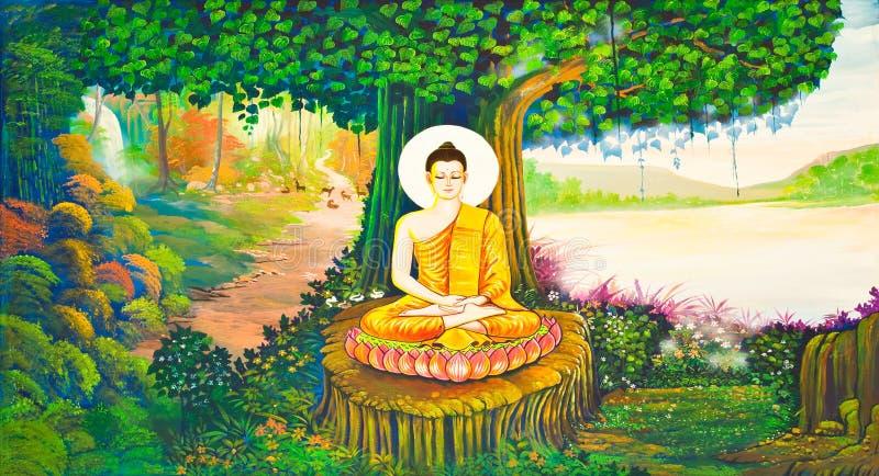 vägg för tempel för konstmålningsstil thai traditionell arkivbilder