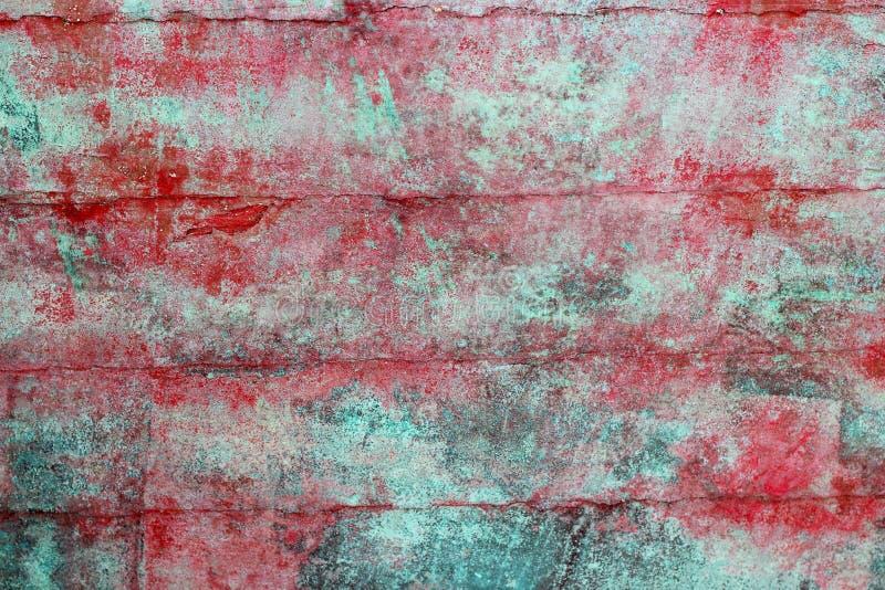 vägg för textur för åldrig grön grungemålarfärg röd royaltyfri fotografi