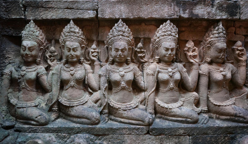 vägg för thom för angkorcambodia lättnad arkivbild
