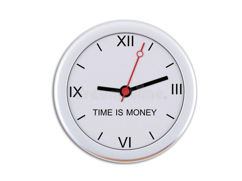 vägg för tid för klockainskriftpengar stock illustrationer