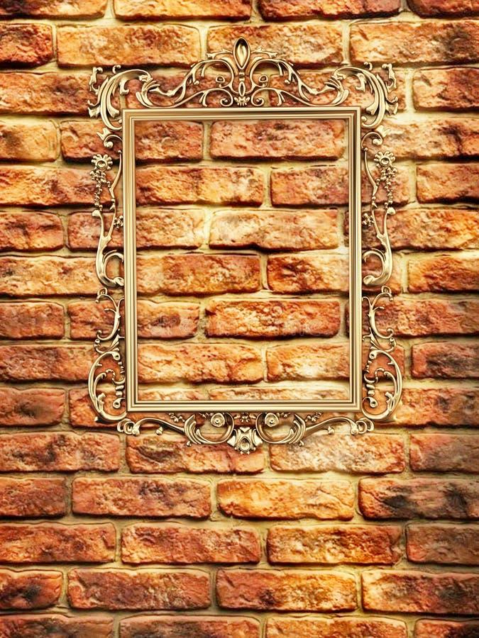 vägg för tom ram för tegelsten guld- royaltyfri illustrationer