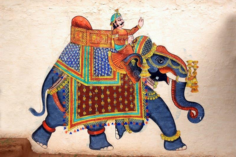 vägg för udaipur för slott för stadselefantmålning arkivfoton