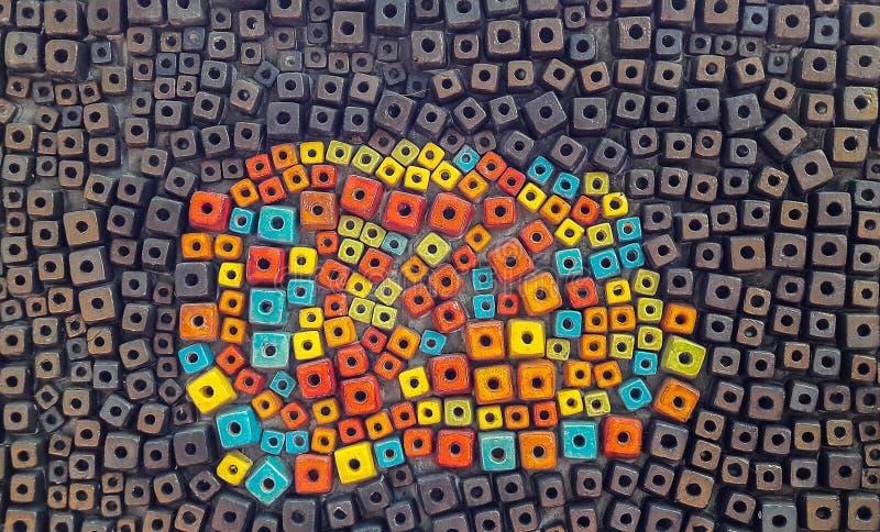 Vägg för variation och för mörk färg från kubikkeramik arkivfoto